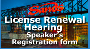 Sands License renewal Hearing Speakers Registration Form